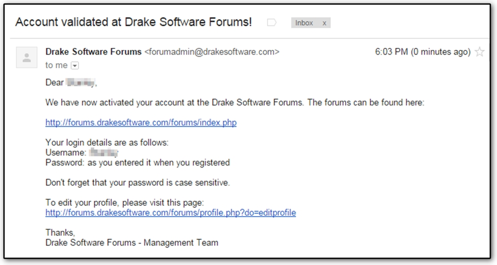 This completes the process you can now log in to the forums for Drake program