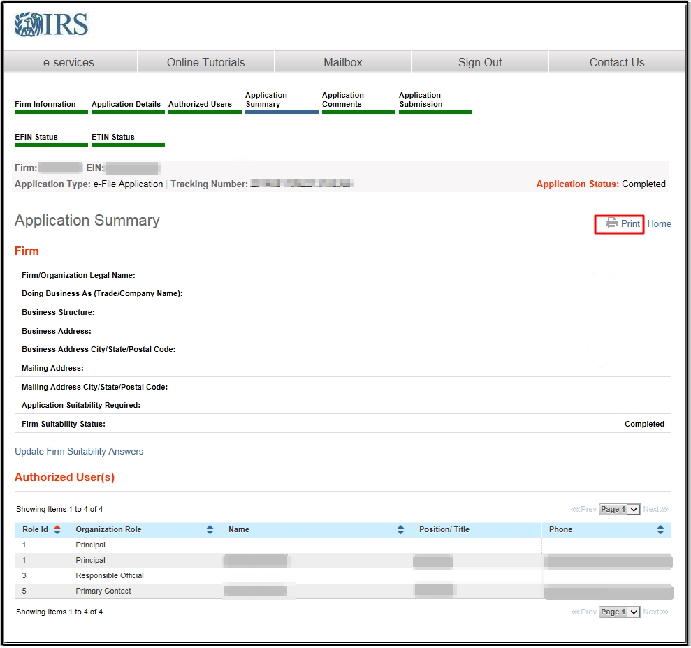 Use an IRS e-Services Online Account for EFIN Application or Status
