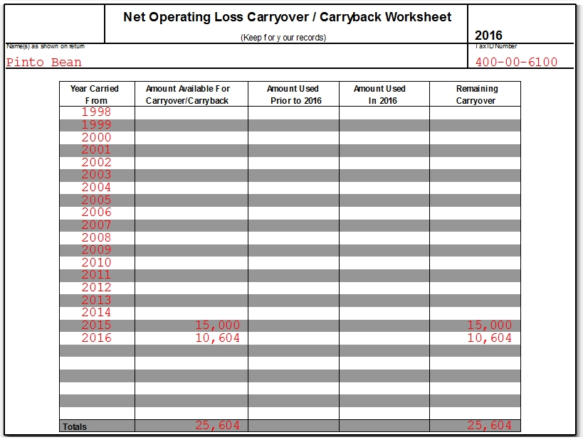 1040 Net Operating Loss Faqs Nol