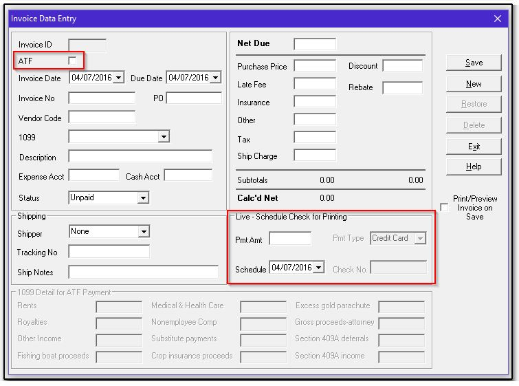 On The Invoice Data Entry Dialog Box At Payables U003e Enter New Invoices,  During Creation Of An Invoice, When The ATF Field Is Cleared (default), ...  1099 Invoice