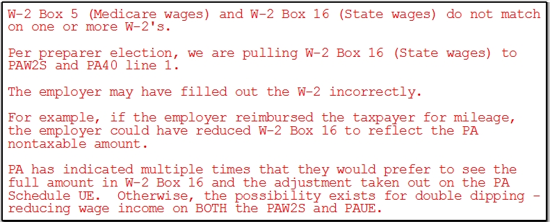 PA State Wages Not Flowing to the PA Individual Return W2 – W2 Worksheet