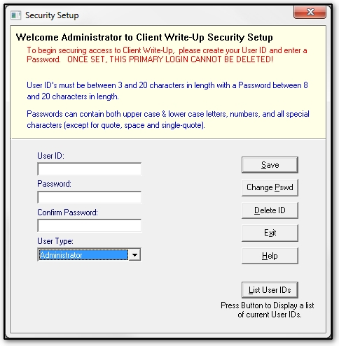 Setting Up User IDs and Passwords (CWU)