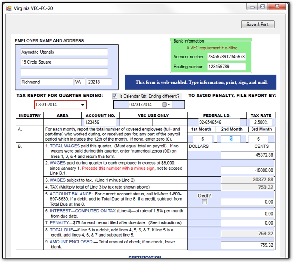 showing 3rd image of Virginia Form Vec Fc 20 Form Vec-Fc-20 - Employer'S Quarterly Tax Report printable ...