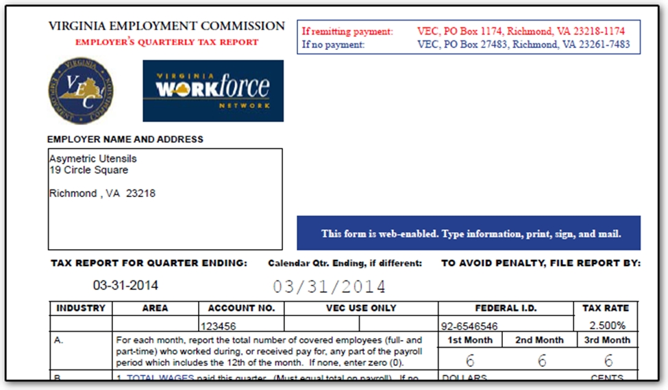 VA - FC-20 Wage Report Can be Printed or e-Filed (CWU2014)