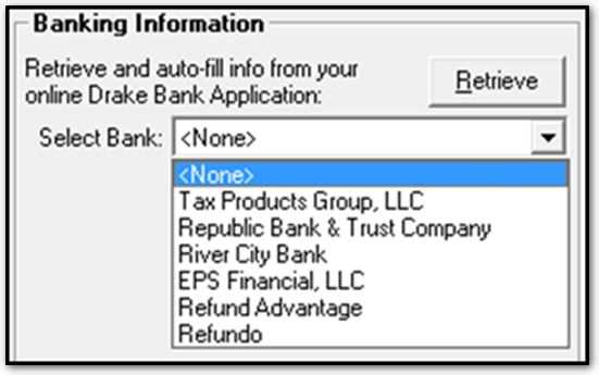 Bank Information Setup In Drake SoftwareJpg