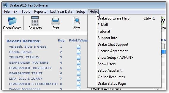 The help menu for Drake program