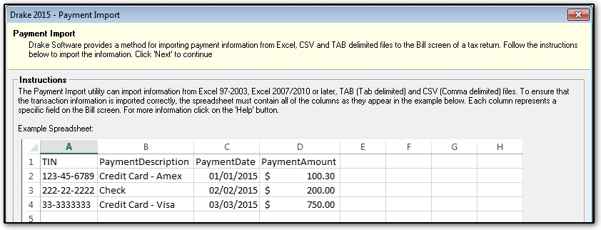 importing client payment information to the bill