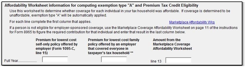 Marketplace Affordability Worksheet (ACA)