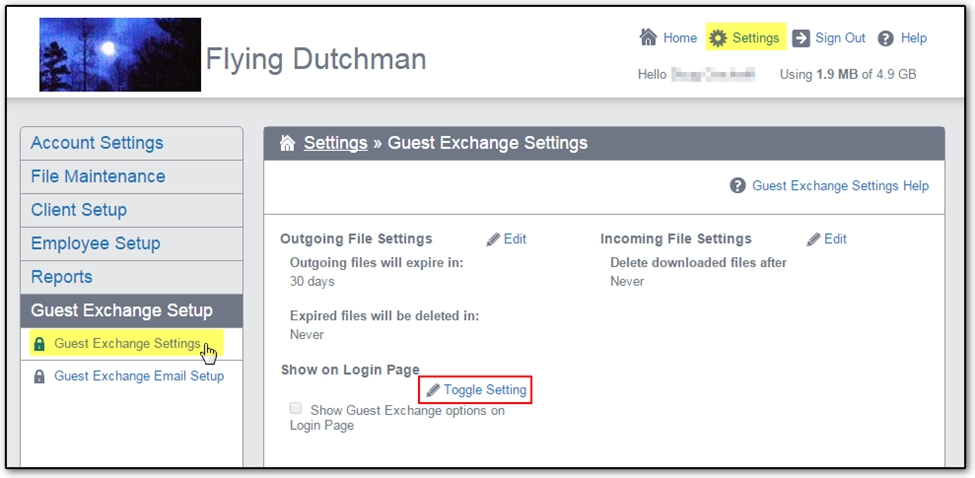 13760: How to set up Guest Exchange in SecureFilePro