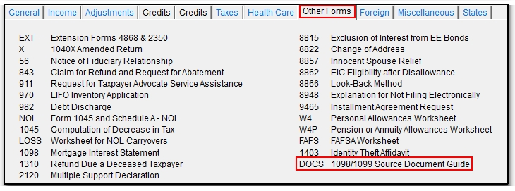 DOCS Screen Where to Enter Forms 1098 and 1099 – Nol Worksheet