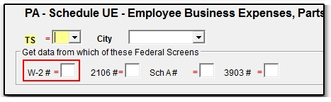 PA - Linking Schedule UE to a Federal Data Entry Screen