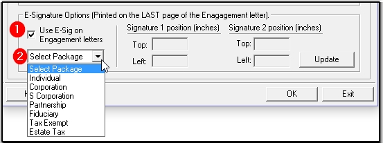 you can adjust the signature position for each engagement letter template by selecting the package type in the drop down box see 2 above