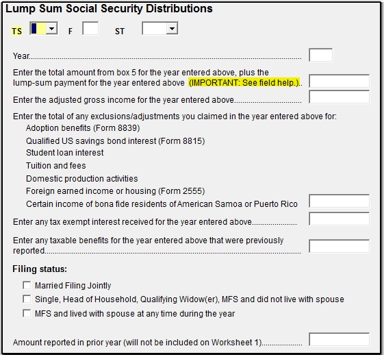 Drake16 Lump Sum Social Security Distributions LSSA screen – Social Security Taxable Worksheet