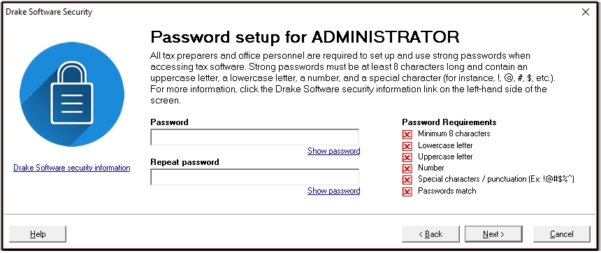 Strong password requirements for Drake program