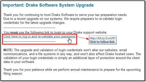 Phishing email alert security and passwords for Drake program