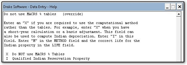 do not use macrs tables 4562