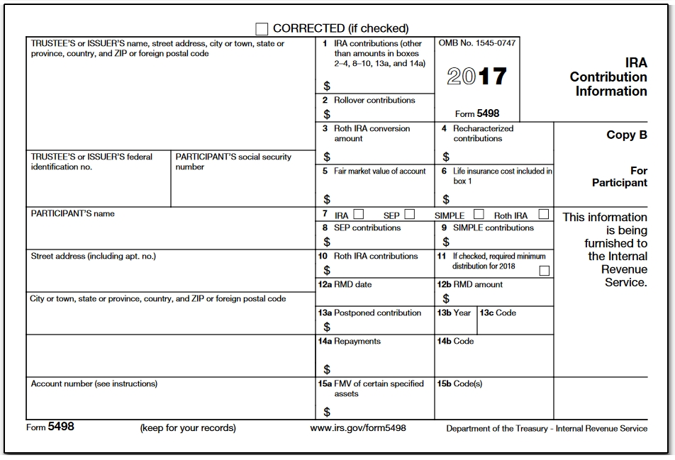 Data on these forms that belongs in a return usually appears on other documents for that purpose, such as a 1099R. Here's what the 5498 looks like:
