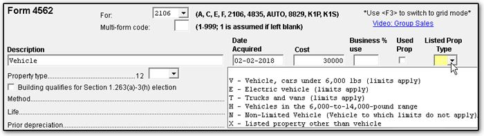 section d of form 2106 reports the depreciation of vehicles to move an asset to section d select v e t h or n as the listed property type on the 4562
