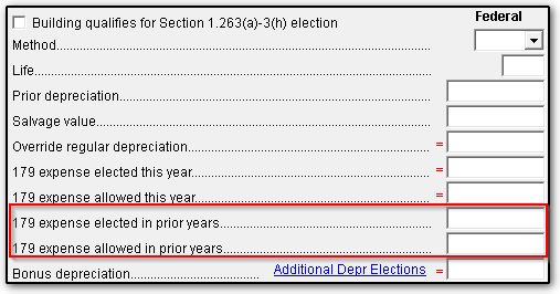 4562 Section 179 Data Entry