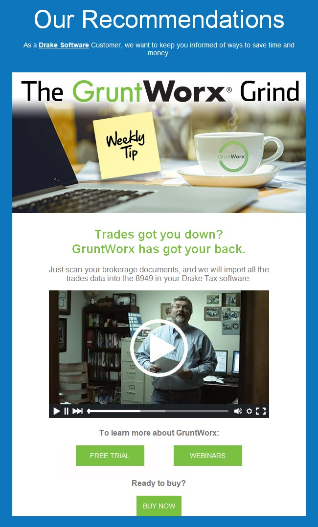 Broadcast gruntworx enewsletter for Drake program