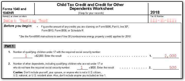 This Worksheet Will Then Calculate Whether Or Not The Taxpayer Is Eligible For Child Tax Credit And Other Dependents As Well How Much They
