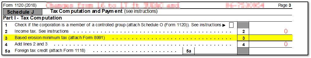 1120 - Form 8991 (Drake18) (1120, ScheduleJ)